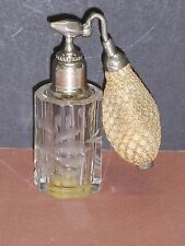 "DE VILBISS ART DECO 4 1/4"" TALL CUT CRYSTAL 9-SIDED PERFUME BOTTLE ATOMIZER NICE"