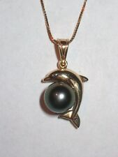 "14K YELLOW GOLD DOLPHIN & TAHITIAN BLACK PEARL PENDANT NECKLACE 18"" BOX CHAIN"