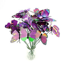 10x Chic Multi-Color Butterfly On Stick Beautiful Art Craft For Home Garden Vase