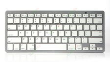 Premium Bluetooth Wireless Keyboard White Keys Silver Color for PC Mac iPhone