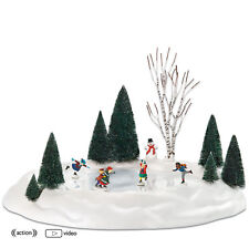 Dept 56 ANIMATED SKATING POND 801130  NEW D56 Christmas Village Accessory NIB