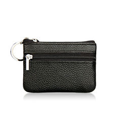 Womens Leather Small Coin Money Card Wallet Clutch Key Holder Pouch Purse Black