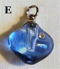 PRETTY GLASS PERFUME VIAL PENDANT WITH RHINESTONES....................DESIGN E *
