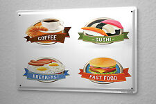 Tin Sign Kitchen Sushi coffee fast food