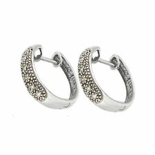 Finest 9 Ct White Gold Pave Diamond Huggy Earrings AT5.58.032G