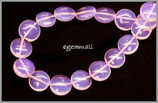 """15"""" Pink Opalite Flat Round Coin Beads 14mm #60021"""