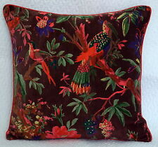Indian Vintage Pillow Case Bird Of Paradise Velvet Cushion Cover Throw 16 by 16""