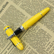 Deluxe Steel Jinhao 159 Yellow + Silver Trim Medium Nib Smooth Fountain Pen Hot