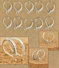 925 STERLING SILVER PLATED Findings Leverback hooks Wires Earrings 100 pcs (C11)