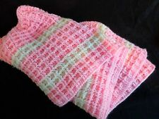 """Hand Crochet Baby Afghan Blanket 46"""" x 40"""" Pink with White Stripes Handmade"""