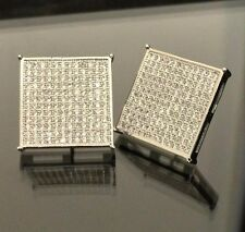 Hip Hop Lab Simulated Diamond Square Sterling Silver 925 Iced Out Earrings
