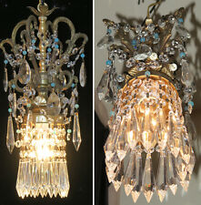 Old beaded ROCOCO Vintage SWAG plugin Brass spelter hanging lamp chandelier