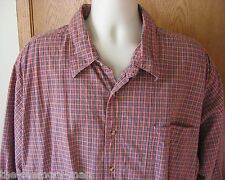Box Office Red Plaid Long Sleeve Lined Button Front Shirt 4XL 4X XXXXL