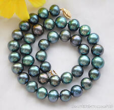 z6086 12mm PEACOCK BLACK ROUND Freshwater cultured PEARL NECKLACE 17inch