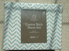 Home Expressions Cotton Rich Sheet Set Queen 14 in Mattress Chevron Easy Care