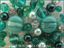Glass Bead Mix / Bracelet Making Kit - Teal - Sea Foam