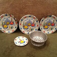 Child's Tin Toy Dutch or Holland Tea set Ohio Art Bryan  Ohio 6pc  Vintage