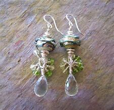 Artisan Hand Lampworked Glass Bead Earrings with Green Amethyst Briolettes - SS