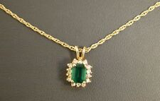 "14 K Yellow Gold Emerald Pendant with 14 K 17.5"" Chain"