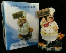 "FAT CHEF FIGURINE 5.5"" Welcome Sign Bread Italian French Baguette Kitchen Decor"