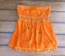MISS ME Jeans~ ~Sz Small ~ Sunny Orange Embellished Terry Strapless Ruffle Top