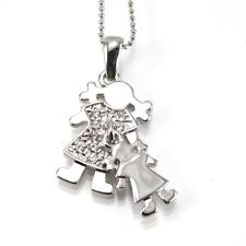 Silver Mother and Child Pendant Necklace (Mother's Day stainless steel)