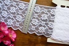 Nylon Rayon WHITE Floral Edge Lace 5 Metre Length Extra Wide 135mm Wide Flt1