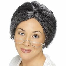 Womens Granny Wig Mrs.Claus Hair Gray Bun Librarian Old Lady Grandma Adult Grey