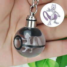 3D LED Nocturna Luz Regalo Llavero Key ring Crystal Ball Pokemon Pokeball Mewtwo