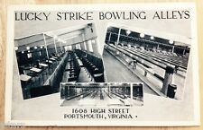c. 1930s PORTSMOUTH, VA, LUCKY STRIKE BOWLING ALLEY POSTCARD
