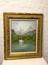 Vtg Alma Rubie Signed Oil on Canvas Mountain Landscape Painting Midwest Regional