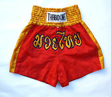 THAIBOXING BOXE VINTAGE NYLON SHINY GLANZ SHORTS RED & GOLDEN XXL GOOD