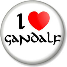 """I Love / Heart GANDALF 1"""" Pin Button Badge The Hobbit Lord Of Rings JRR Tolkein"""