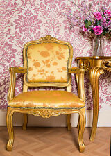 French Louis Armchair Gold Floral Shabby Chic Bed Room Antique Style Bedroom
