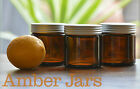 10x120ml Amber Glass Cosmetic Jar with grooved Matt Silver Lid-Candles spice jar
