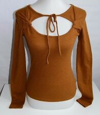 Vintage Free People Brown Knit Keyhole Long Sleeve Top Shirt Small Cotton