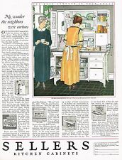 1920's BIG Vintage Sellers Kitchen Cabinet Housewife Retro Decor Art Print Ad