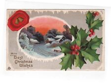 Vintage Christmas Greetings Post Card, A Country Town in Winter at Sunset, 1916