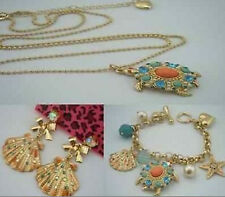 NEW Betsey Johnson Fashion Jewelry turtle necklace and bracelet and earrings
