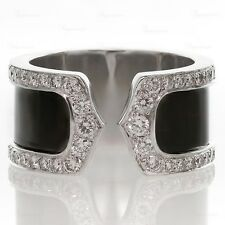 CARTIER Double C Decor 18k Diamond Black Lacquer $14,500 Large 50 Ring