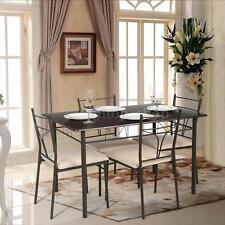 5 Piece Dining Table Set Metal Kitchen Table & 4 Chairs Modern Furniture IKAYAA