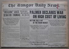 August 6, 1919 Bangor Maine Daily Newspaper - $9,000 Fire Truck, Cost of Living