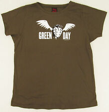 GREEN DAY T-shirt Winged Grenade Baby Doll Tee JUNIORS XXL 2XL Olive New