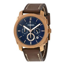 Fossil  Machine  Chronograph Blue Dial Brown Leather Mens Watch FS5073