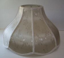 LARGE VINTAGE BRONZE BEIGE VICTORIAN STYLE LAMP SHADE FLOOR / TABLE DAMASK PRINT