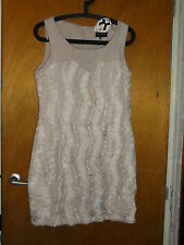 """Danity Embellished Fully Lined Sleeveless Shift Dress L Ch32"""" L34"""" Cream BNWT"""