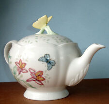 Lenox BUTTERFLY MEADOW Teapot 48 oz. Butterfly Topped lid New Boxed!