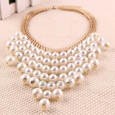 Women Jewelry Pearl Necklace Chain Statement Bib Chunky Collar Pendant Beads