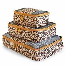 Travel Packing Cubes Set 3 Piece, Ideal for Travel and Closet Organizer Leopard