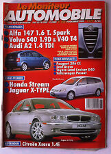 Le moniteur Automobile 9/11/2000; Honda Straem/ Alfa 147/ Volvo S 40 1.9D/ Audi